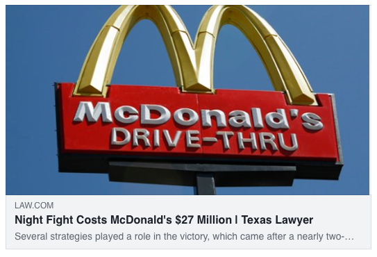 Night Fight Costs McDonald's $27 Million