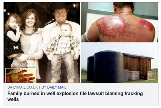 Family - including four-year-old girl - left with horror burns when the WELL at their ranch exploded into a giant fireball - and they blame nearby fracking