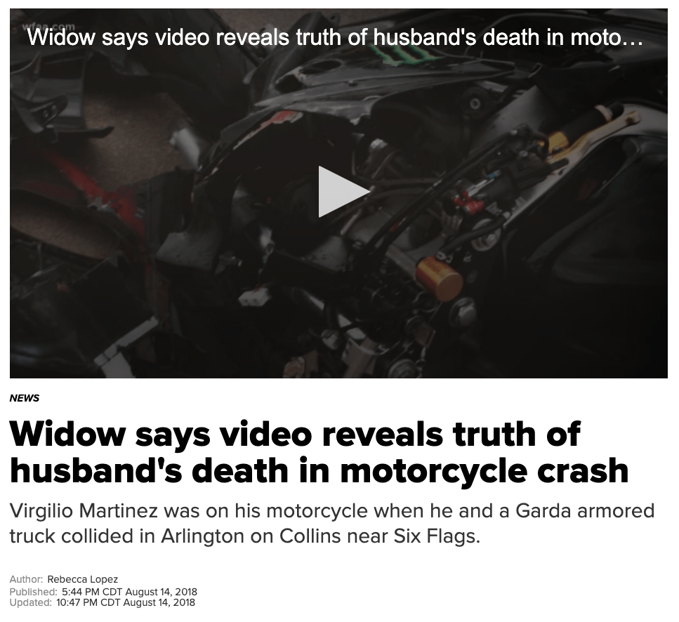 WFAA - Widow says video reveals truth of husband's death in motorcycle crash - Hamilton Wingo
